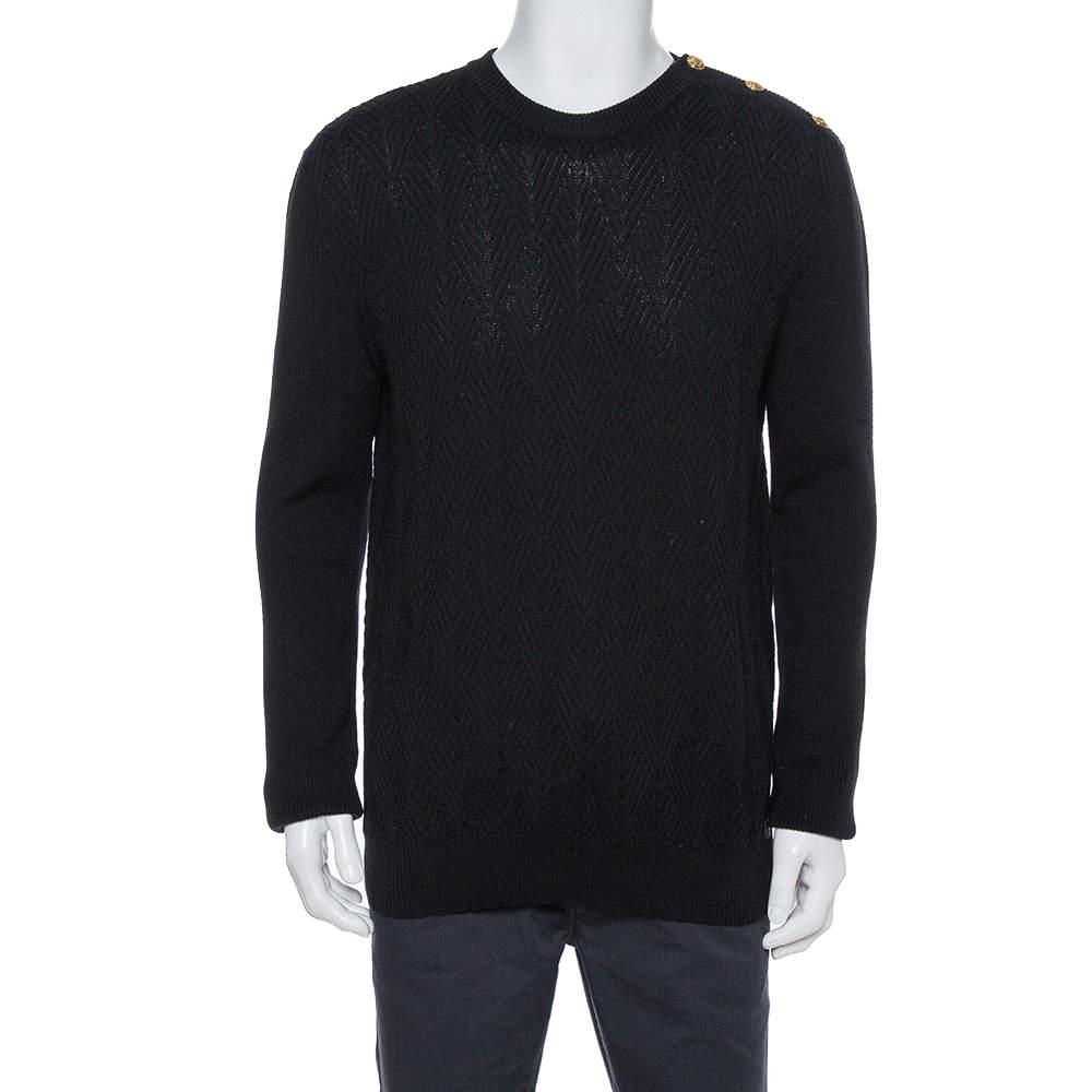 Versace Black Diamond Pattern Rib Knit Sweater XXL