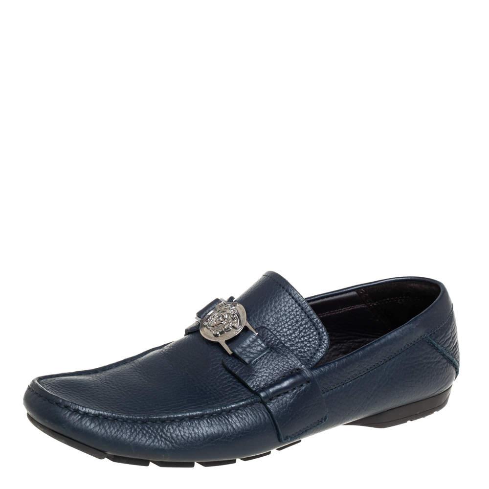 Versace Blue Leather Medusa Embellished Slip On Loafers Size 41