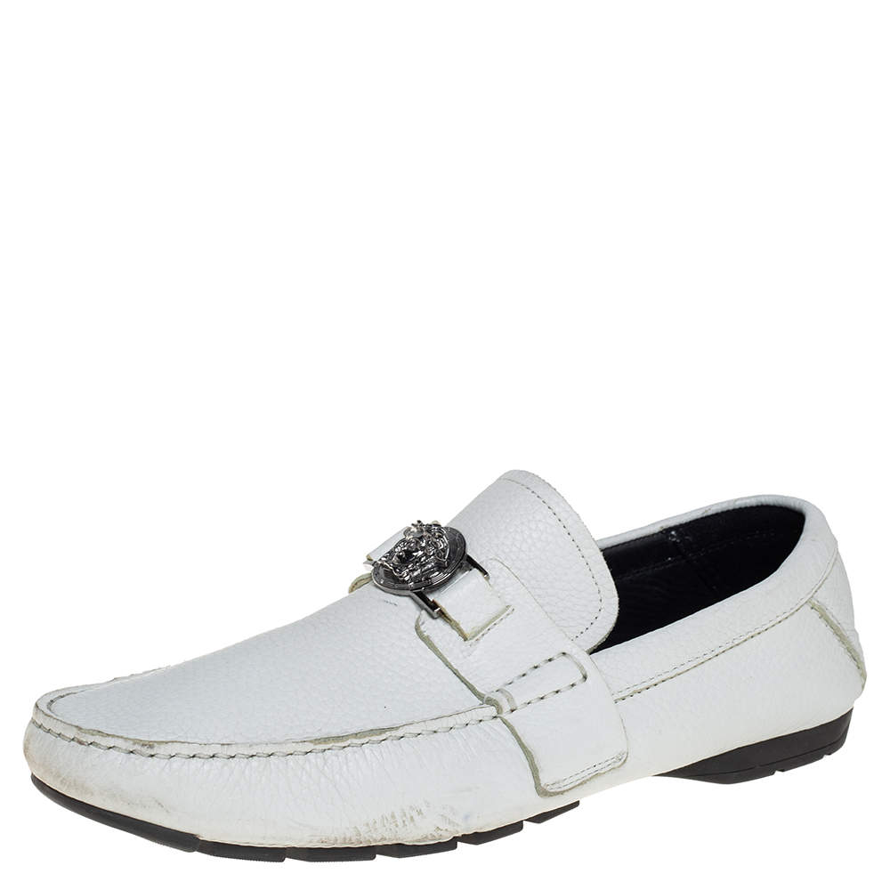 Versace White Leather Medusa Embellished Slip On Loafers Size 41