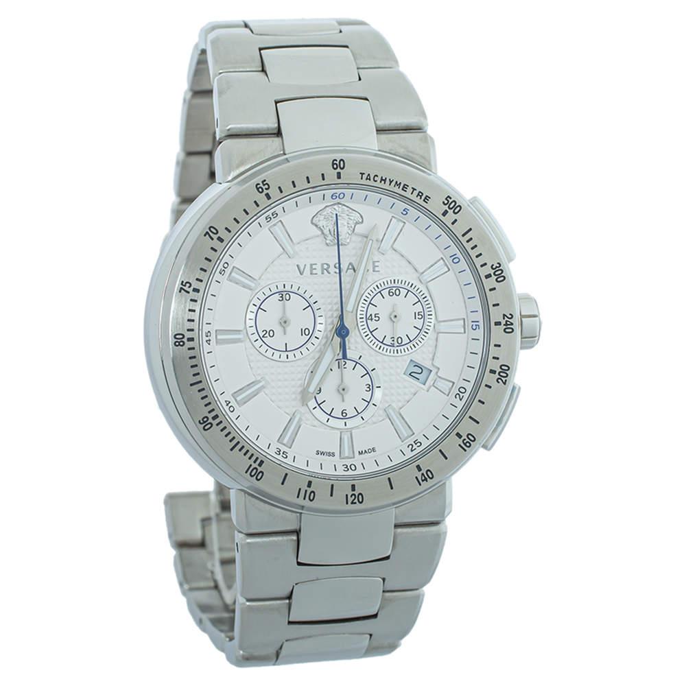 Versace Silver & White Stainless Steel Mystique VFG Sport Men's Wristwatch 46 mm