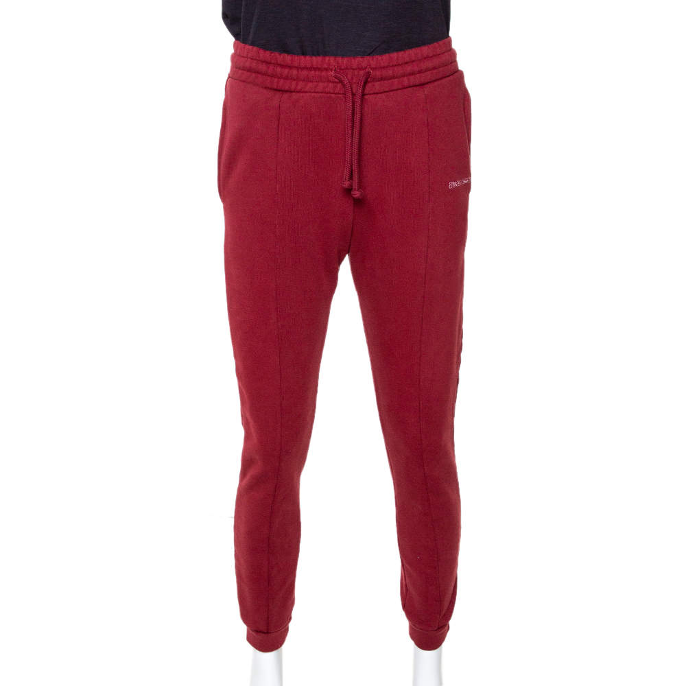 Vetements Brick Red Cotton Embroidered Logo Detail Track Pants M