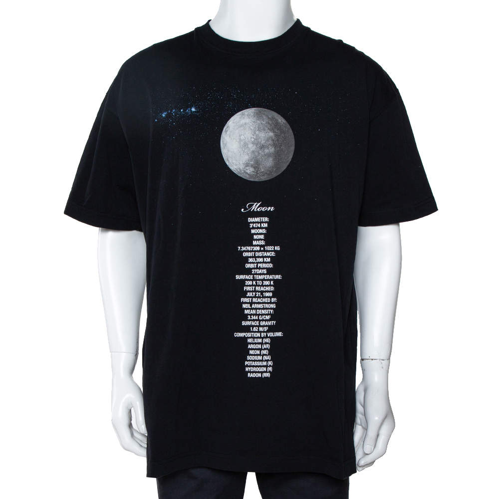 Vetements Black Cotton Zodiac Planet Moon Print Oversized T Shirt S
