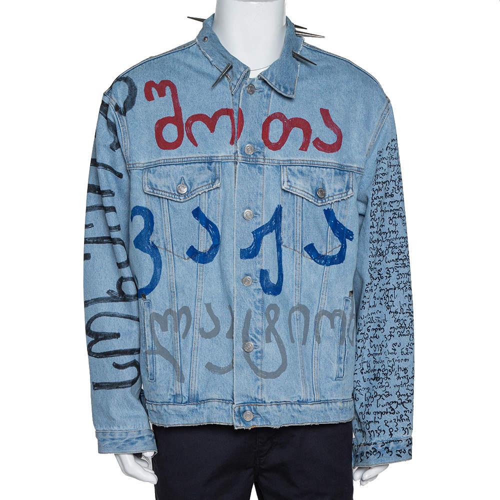 Vetements Blue Printed Denim Spiked Oversized Jacket M
