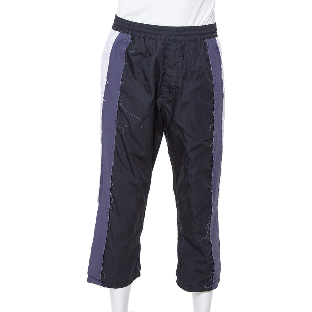Vetements Black Cotton Raw Stripe Paneled Trousers M