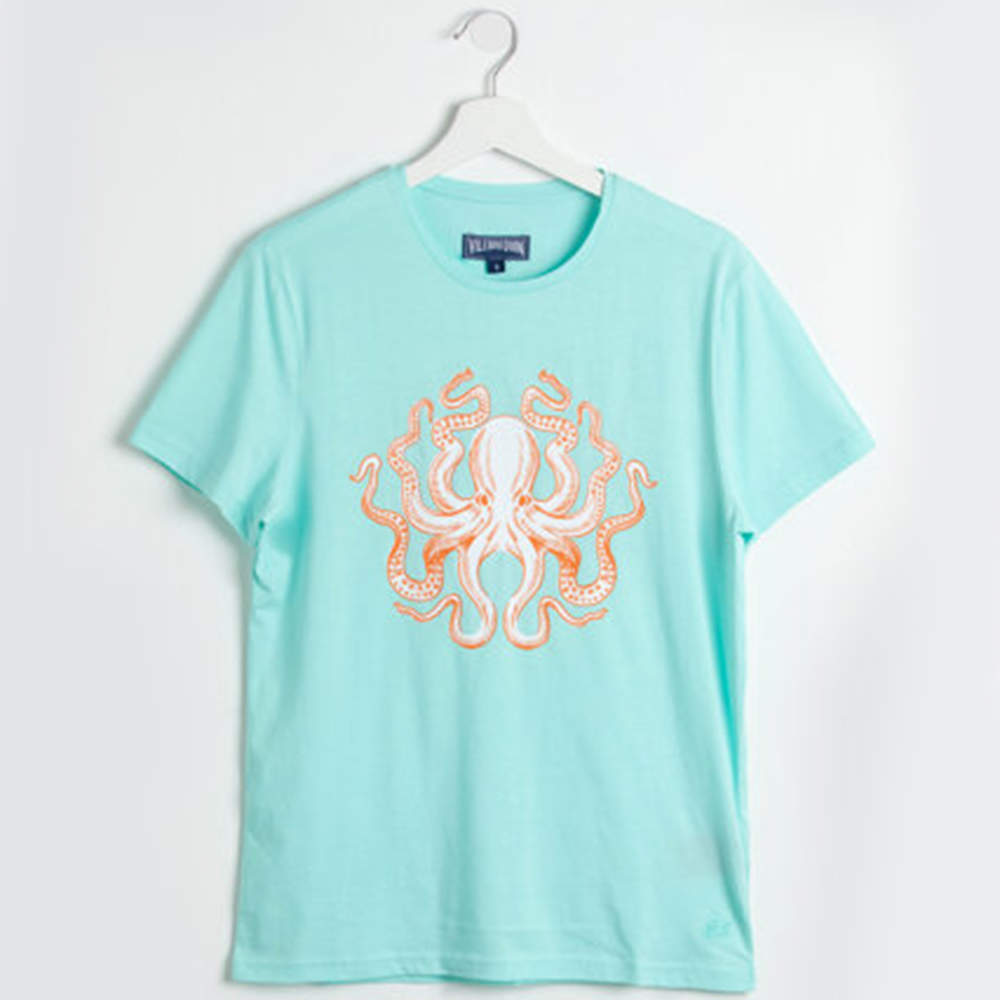 Vilebrequin Blue Tao Octopus Lagon T-shirt L (Available for UAE Customers Only)