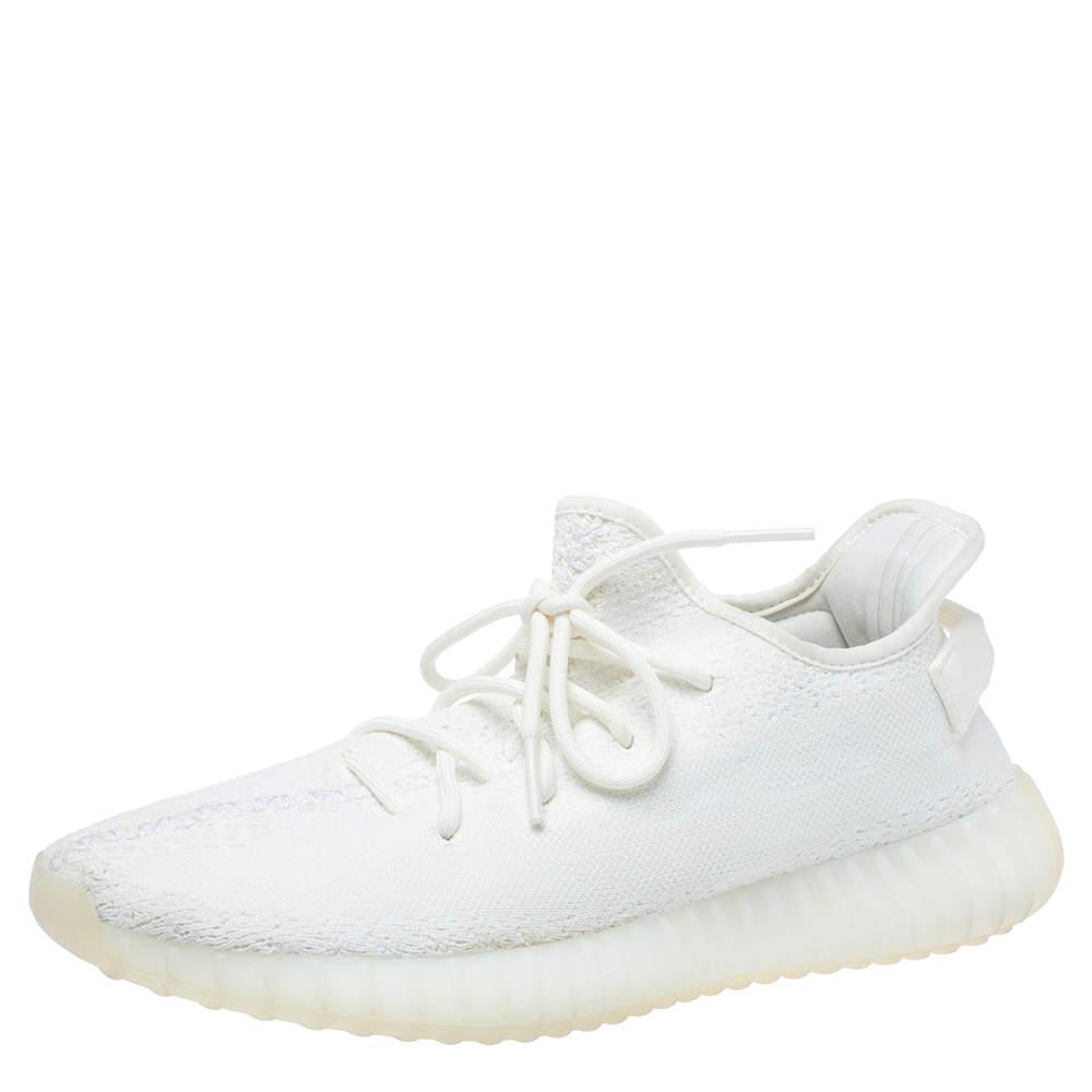 حذاء رياضي ييزي وأديداس بوست 350 في2 كريمي وايت تريكو قطن أبيض مقاس 44.5