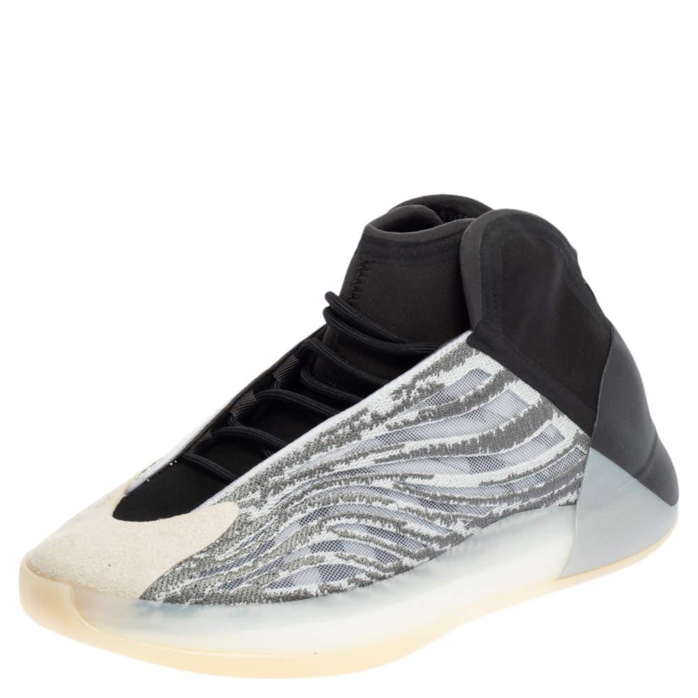 Yeezy x adidas Grey/Black Mesh And Neoprene QNTM High Top Sneakers Size 43 1/3