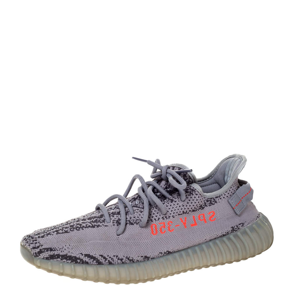 Yeezy x Adidas Grey Cotton Knit Boost 350 V2 Beluga Sneakers Size 45.5