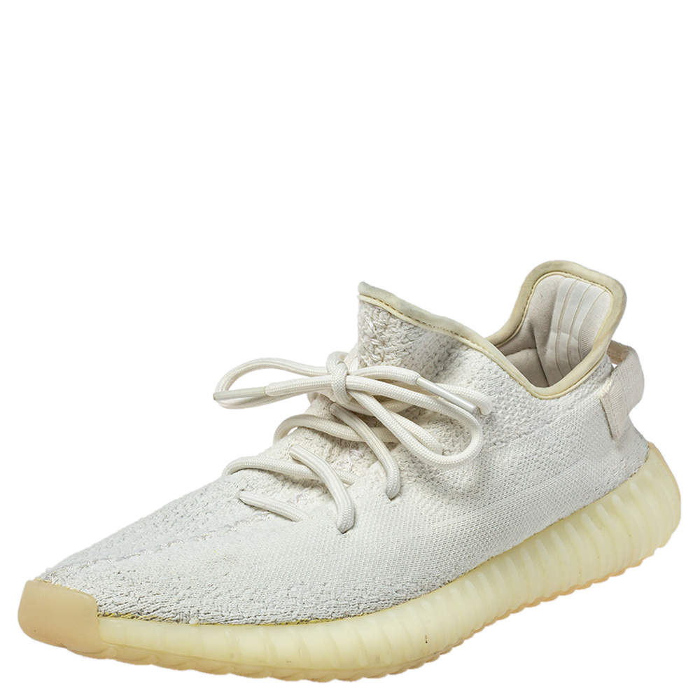 Adidas Yeezy White Knit Fabric 350 V2 Butter Sneakers Size 43.5