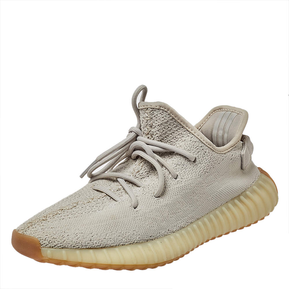 Yeezy x Adidas Beige Cotton Knit Boost 350 V2 Sesame Sneakers Size 42