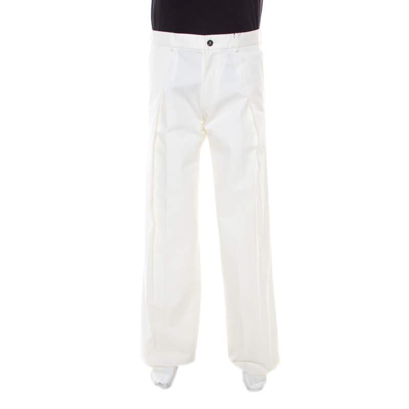 Saint Laurent Paris Off White Cotton Pleat Front Tailored Trousers S
