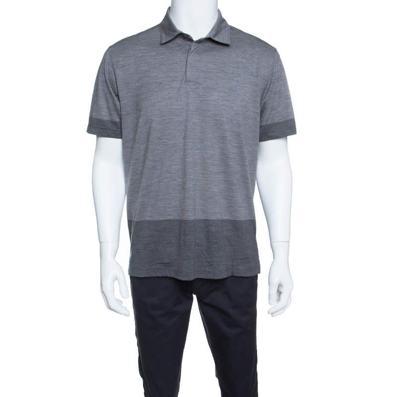 Z Zegna Techmerino Grey Contrast Trim Polo T-Shirt L