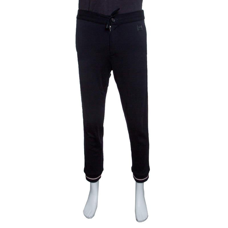 Z Zegna Techmerino Navy Blue Wool Contrast Striped Jogger Trousers M