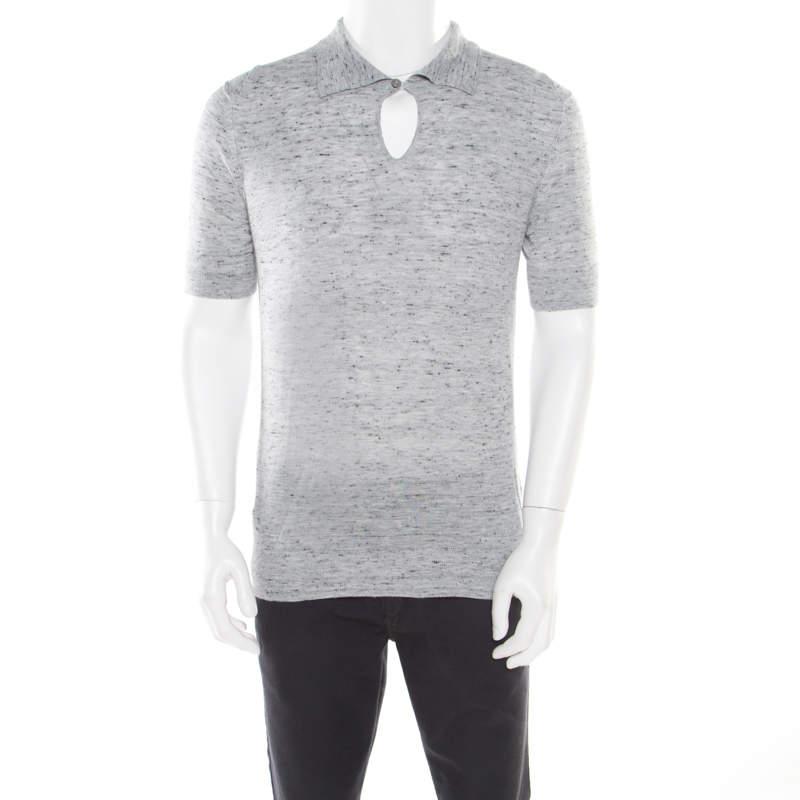 Z Zegna Grey Marled Keyhole Detail Short Sleeve T-Shirt L