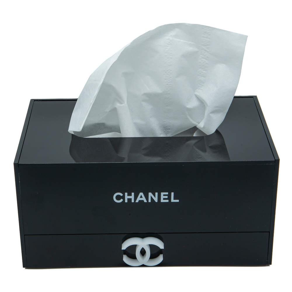 Chanel Black Tissue Box & Organizer Drawer