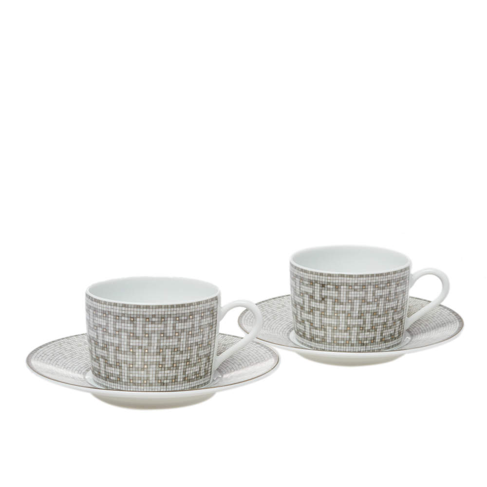Hermes Mosaique au 24 Platinum Tea Cup & Saucer Set