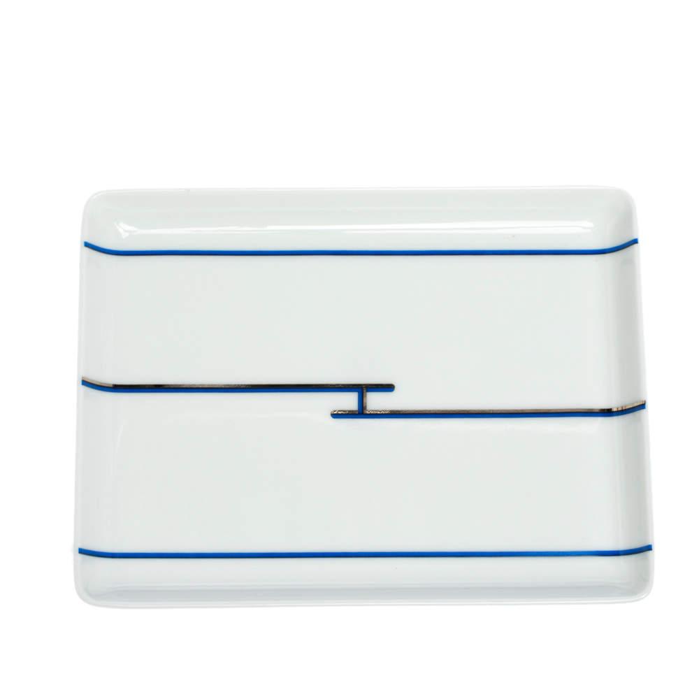 Hermes White & Blue Rythme Porcelain Tray