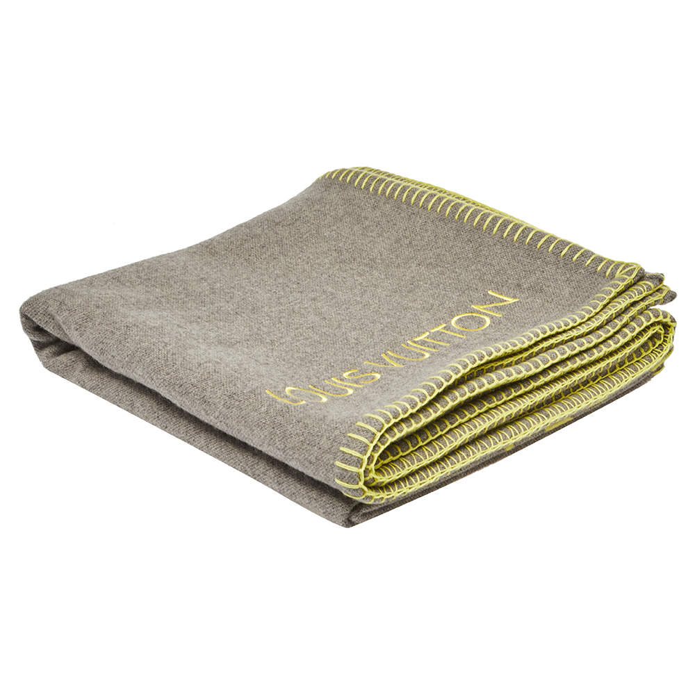 Louis Vuitton Grey Fluo Louis Reversible Wool Blanket