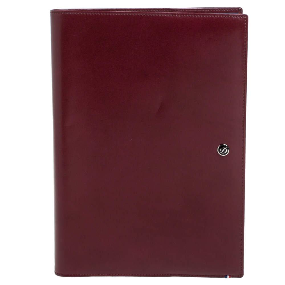 S.T.Dupont Burgundy Leather Line D A5 Cover and Notebook