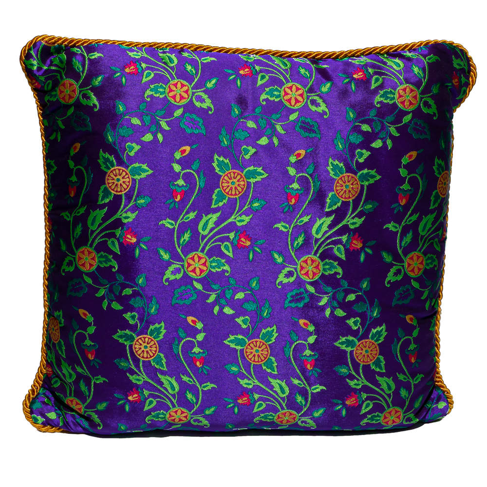 Versace Purple & Yellow Cotton Cushion