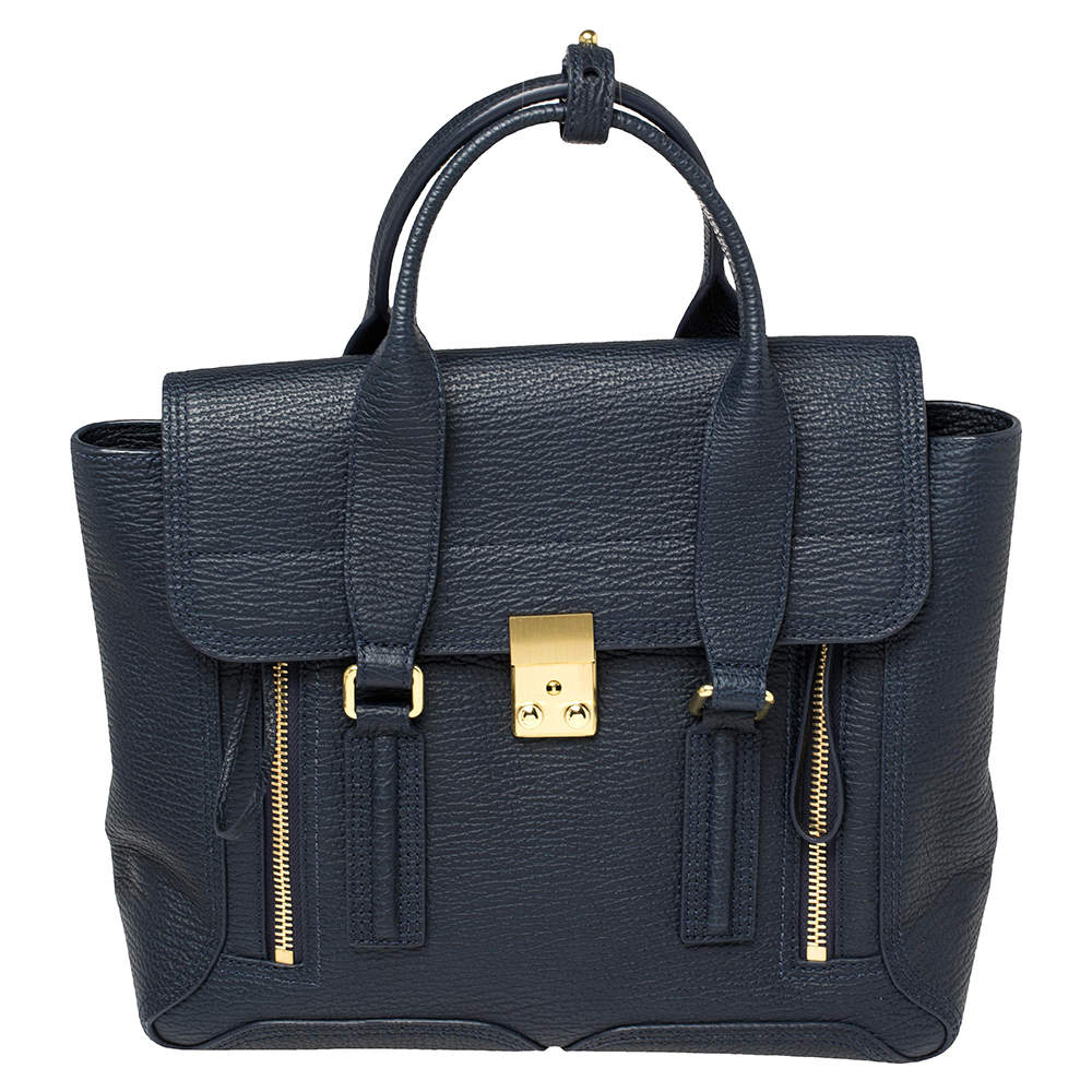 3.1 Phillip Lim Navy Blue Leather Medium Pashli Satchel