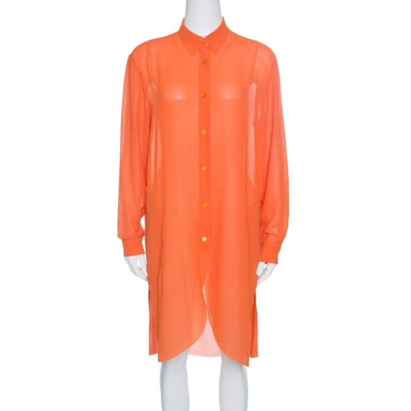 Acne Studios Orange Long Sleeve Sheer Penny Tunic S