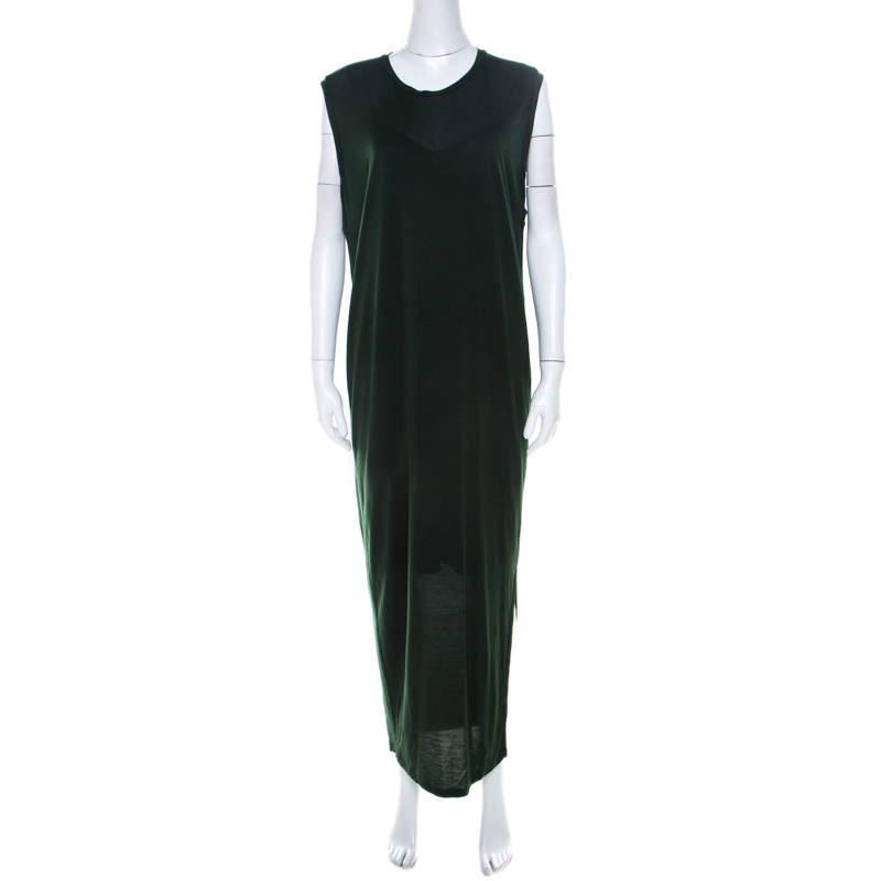 Acne Studios Forest Green Tencel Jersey Sleeveless Bree Maxi Dress S
