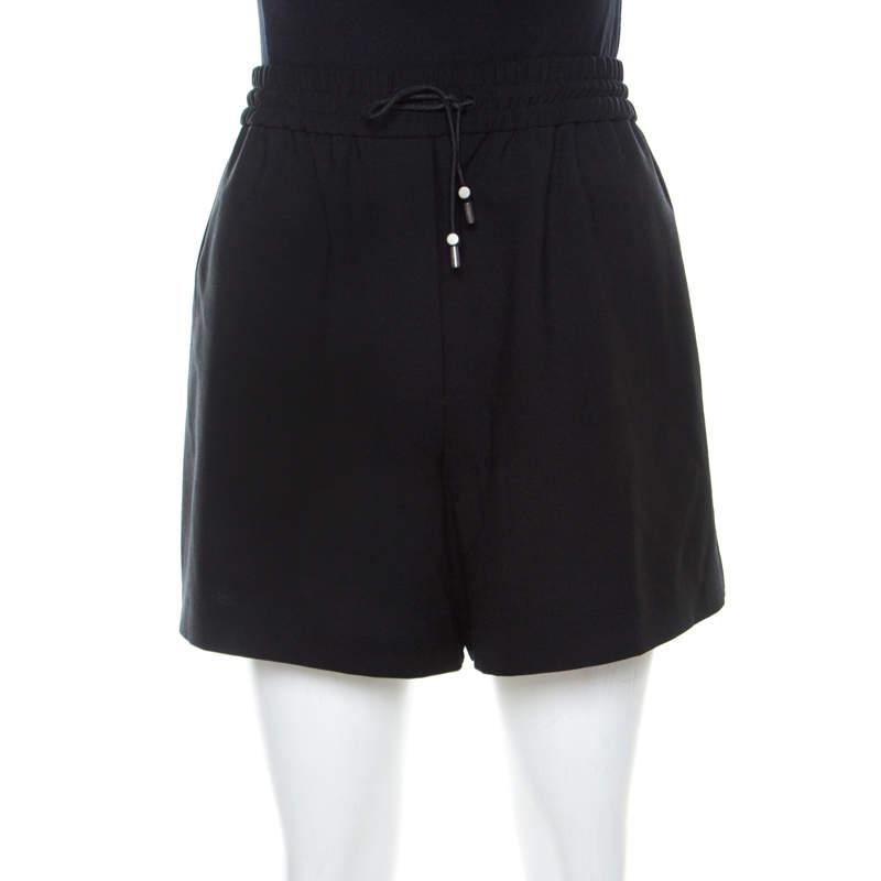 Acne Studios Black Wool Blend Drawstring Elze Bistretch Shorts S