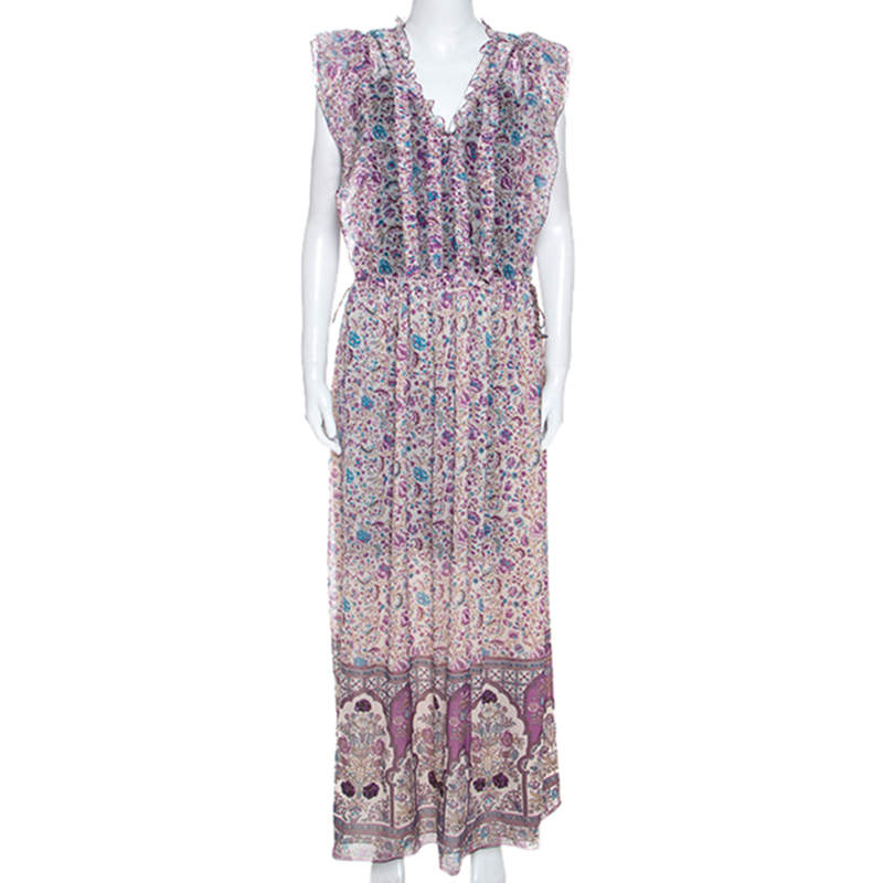 Zadig and Voltaire Purple Georgette Drawstring Waist Rimana Maxi Dress S