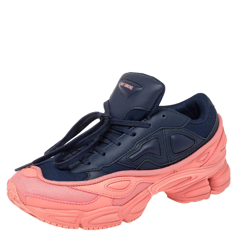 Adidas By Raf Simons Blue/Pink Leather And Mesh Ozweego Sneakers Size 40