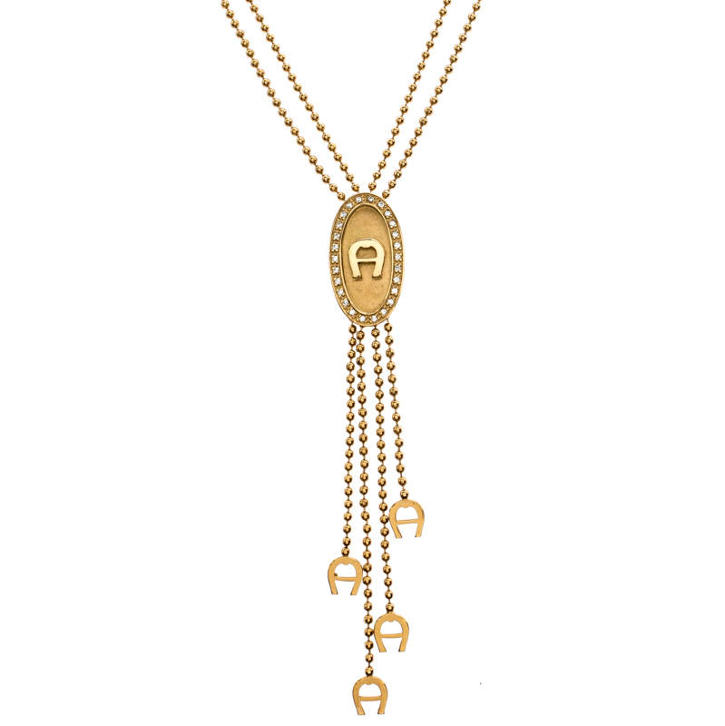 Aigner Gold Plated Crystal Paved Logo Charm Tasseled Necklace