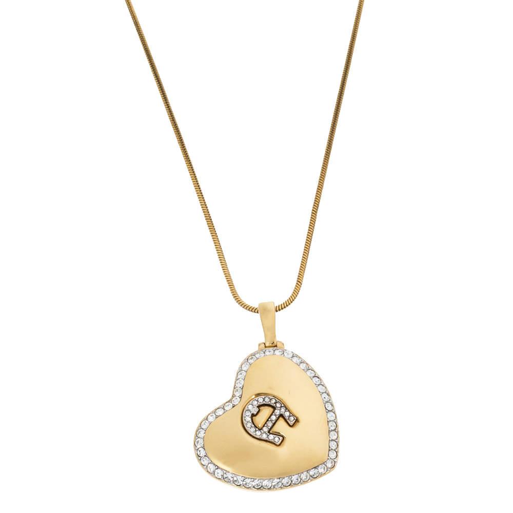 Aigner Logo Crystal Heart Motif Gold Tone Pendant Necklace