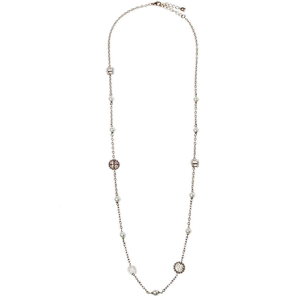 Aigner Rose Gold Plated Crystal A-Logo & Pearls Chain Necklace