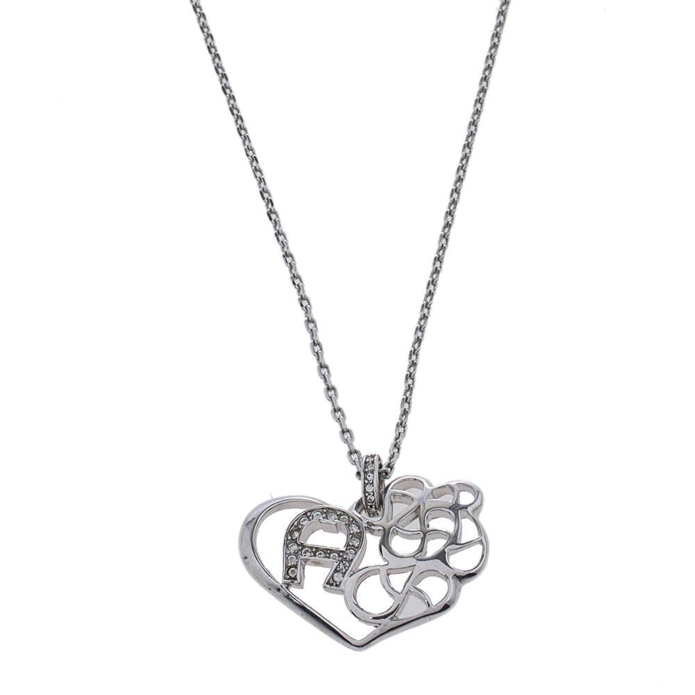Aigner Silver Tone Crystal Logo Heart Pendant Necklace