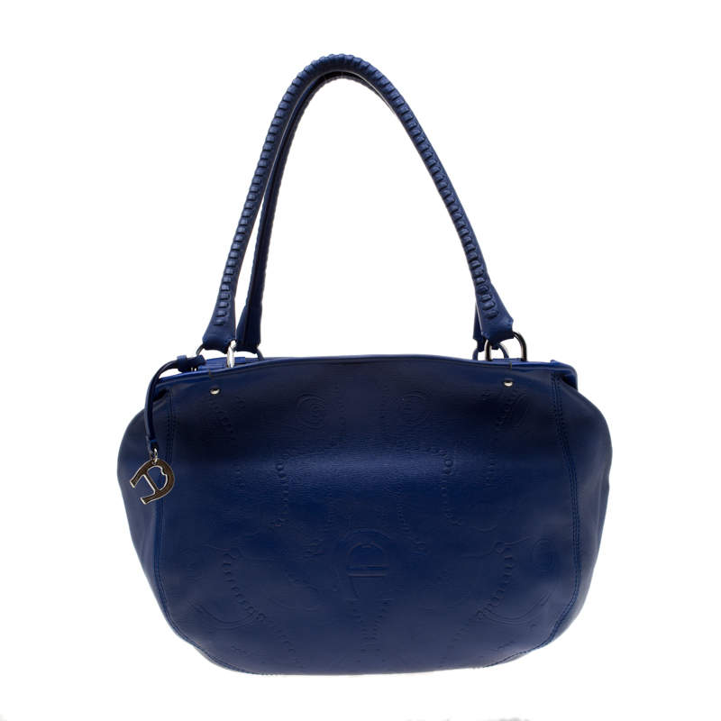 Aigner Blue Violet Leather Satchel