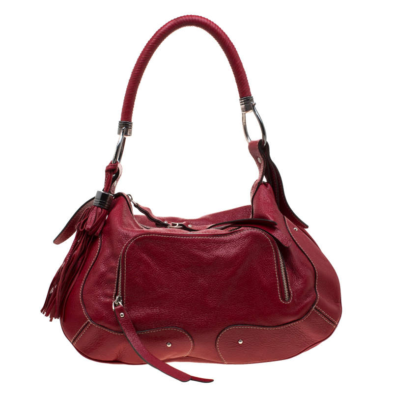 Aigner Red Leather Tassels Hobo