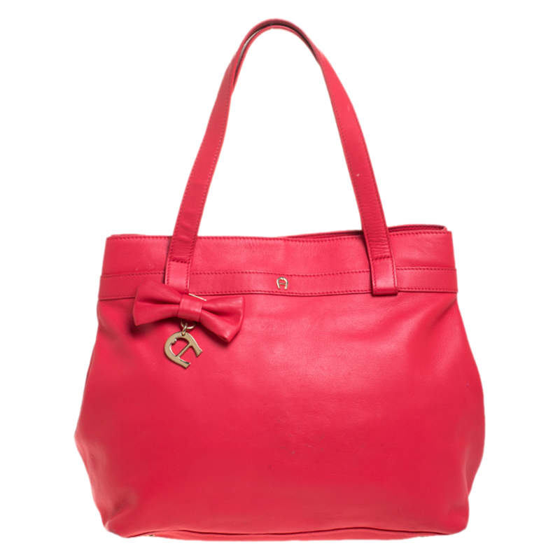Aigner Rose Red Leather Bow Tote