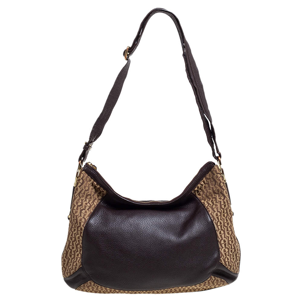 Aigner Brown/Beige Signature Canvas and Leather Hobo