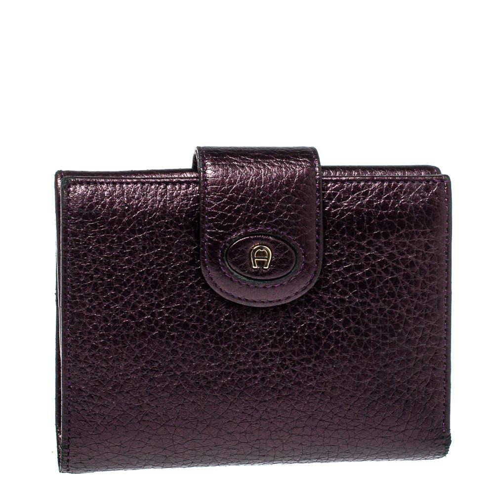 Aigner Metallic Purple Leather Compact Wallet
