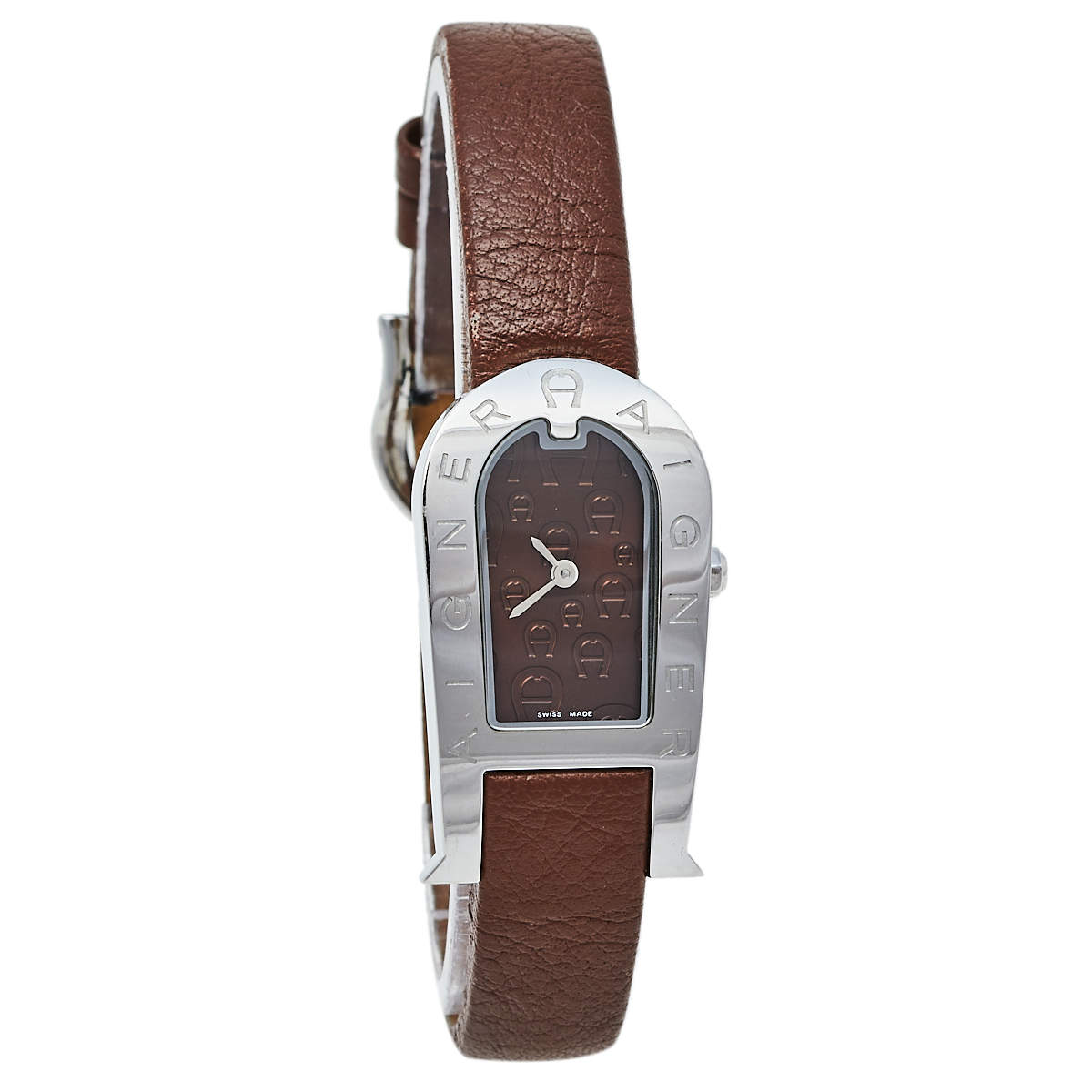 Aigner Brown Stainless Steel Leather Olbia A29000 Women's Wristwatch 20 mm