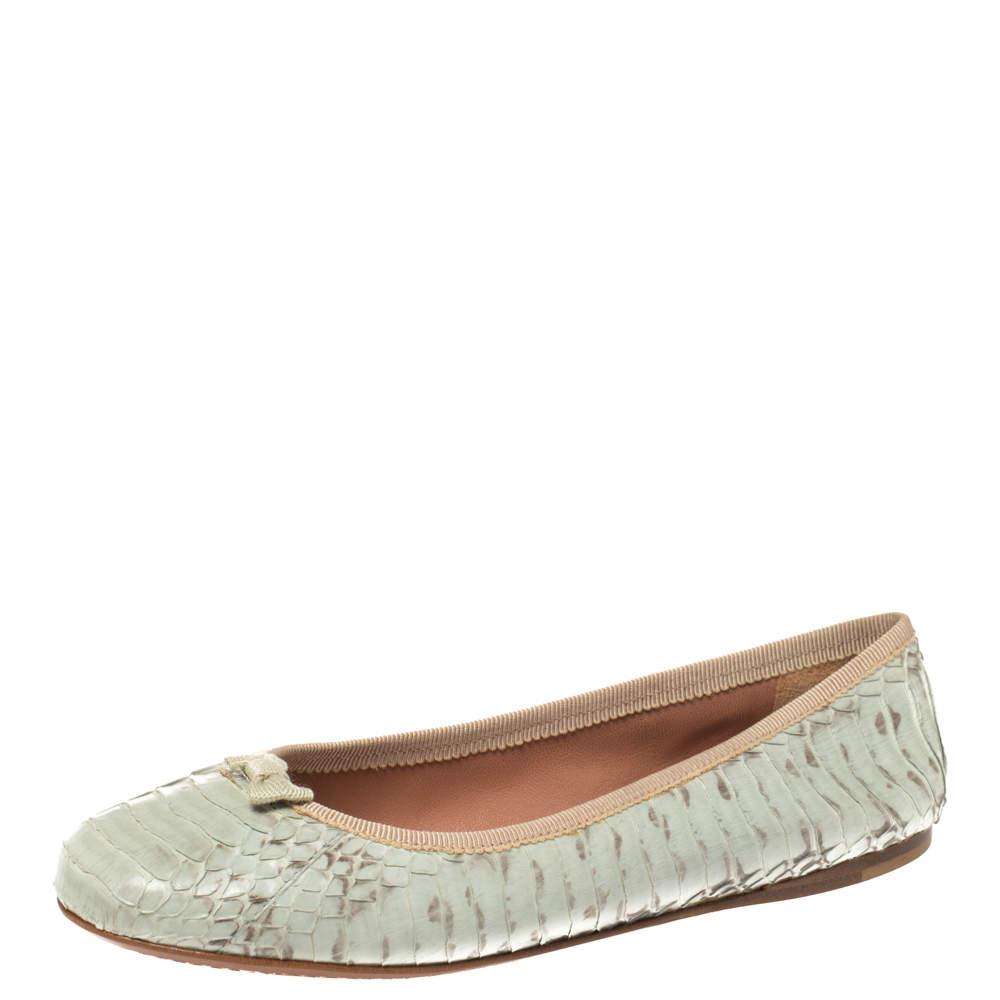 حذاء باليرينا فلات علايا مزين فيونكة جلد ثعبان لونين مقاس 35.5