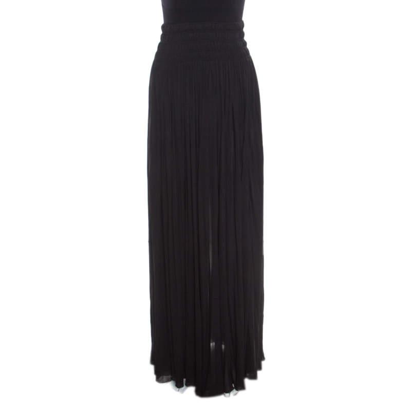 Alaia Black Stretch Shirred Elasticized Waist Maxi Skirt S