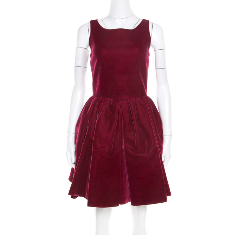 Alaia Burgundy Velvet Sleeveless Gathered Dress M