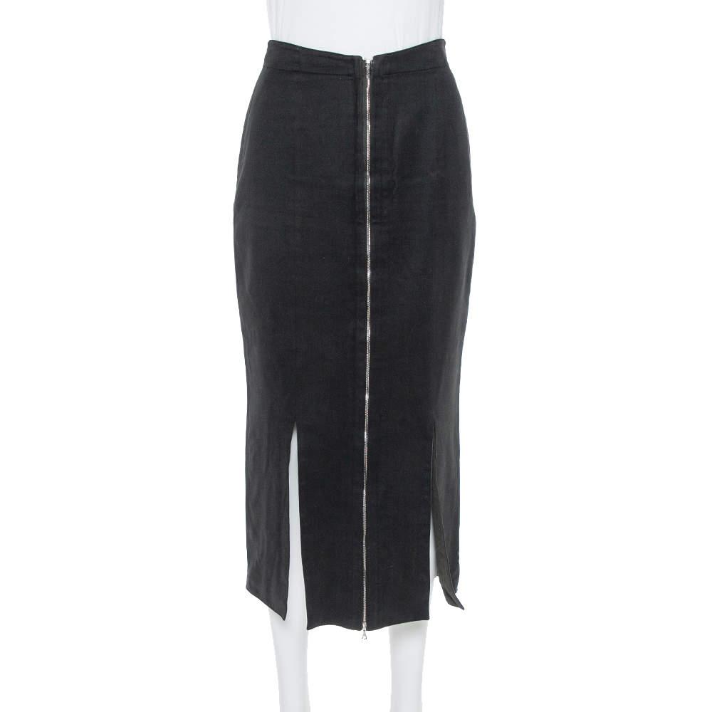 تنورة علايا مزينة فتحة صوف و قطن أسود مقاس وسط (ميديوم)