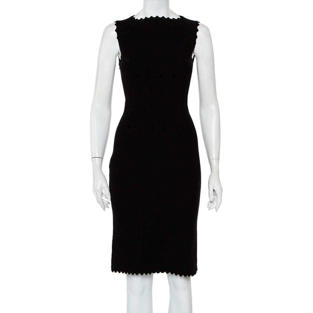 Alaia Black Jacquard Knit Sleeveless Midi Dress M