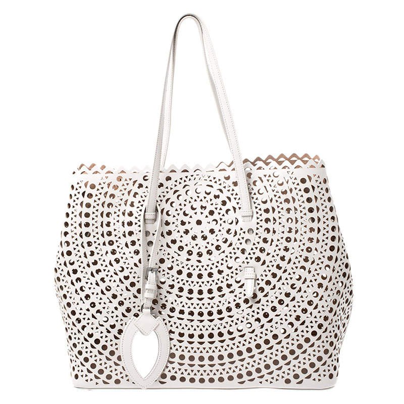Alaia Grey Laser Cut Leather Mina Vienne Tote