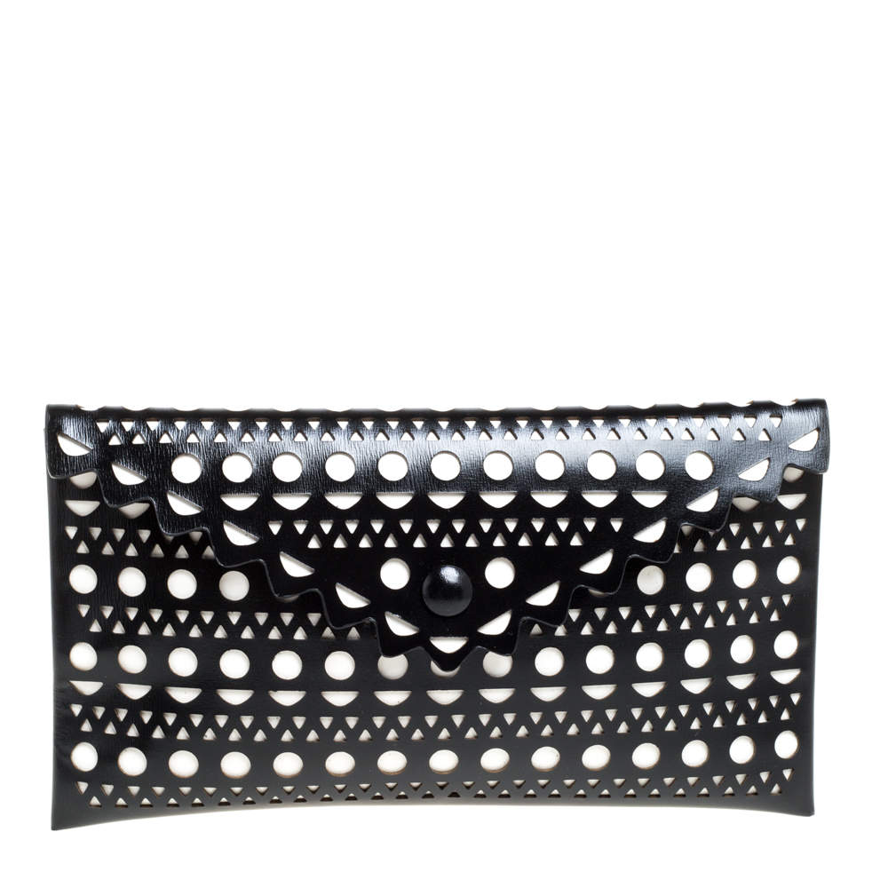 Alaia Black Lasercut Leather Envelope Clutch