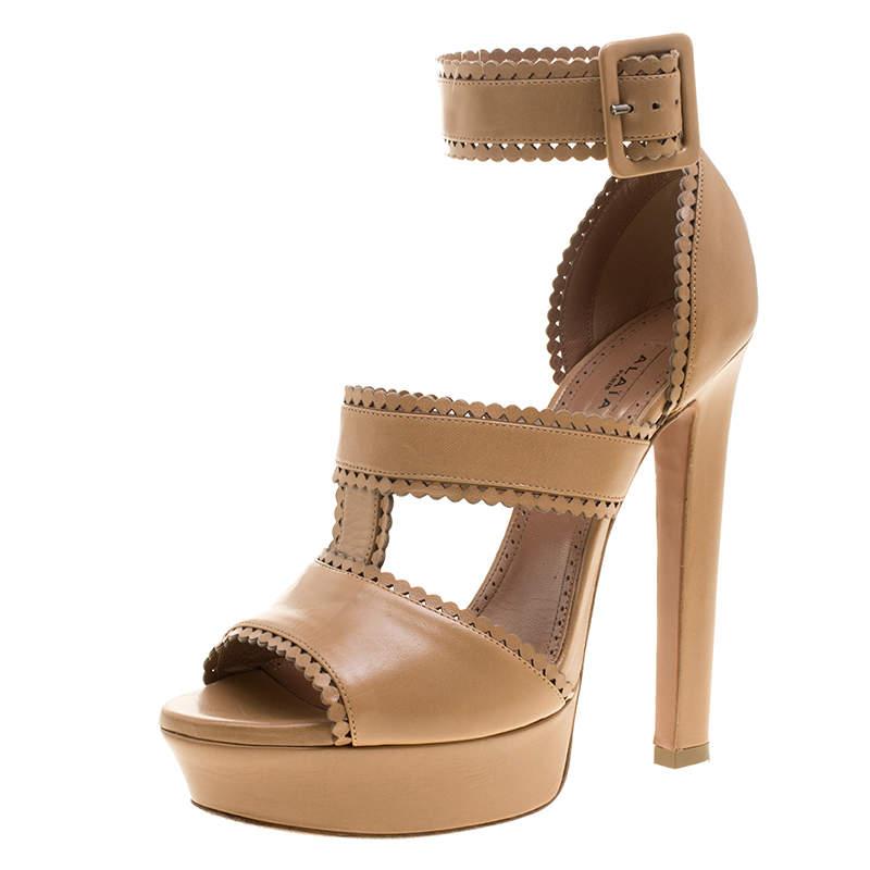 Alaia Brown Leather Platform Sandals Size 39.5