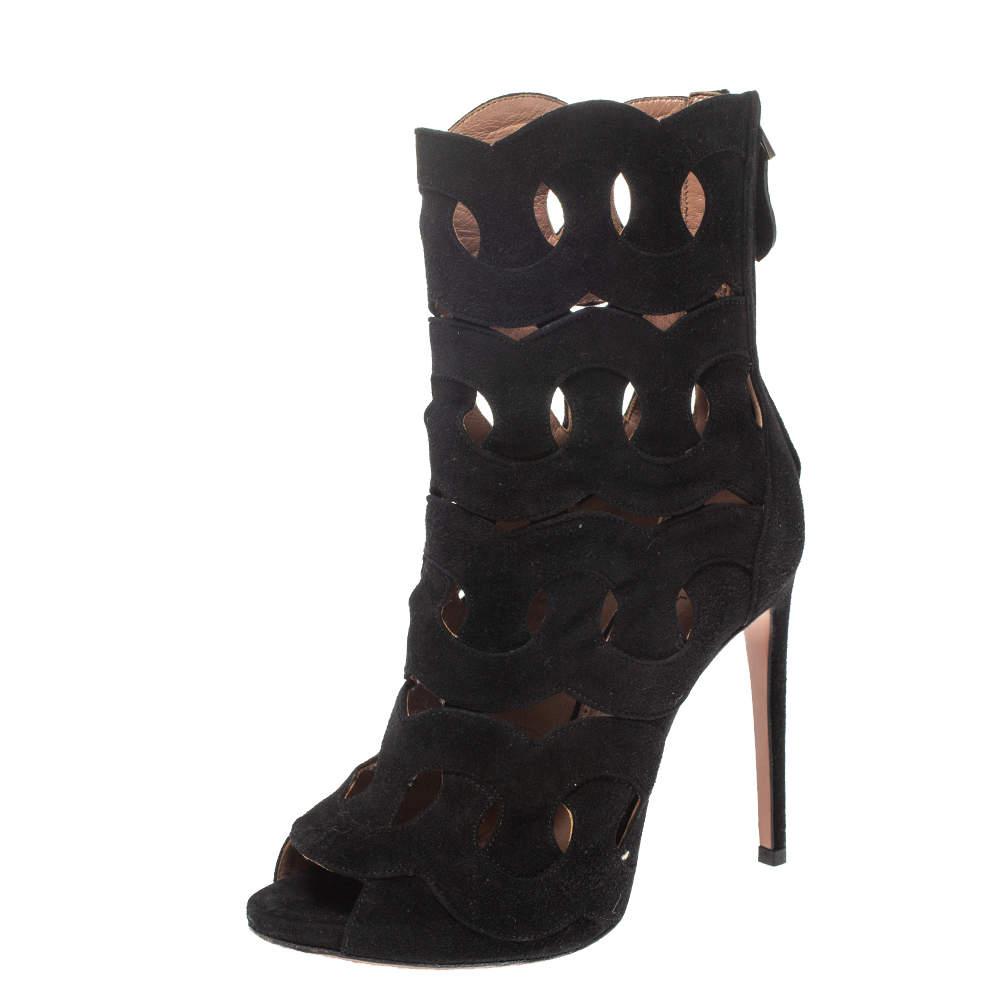 Alaia Black Suede Lazer Cut Ankle Booties Size 38.5