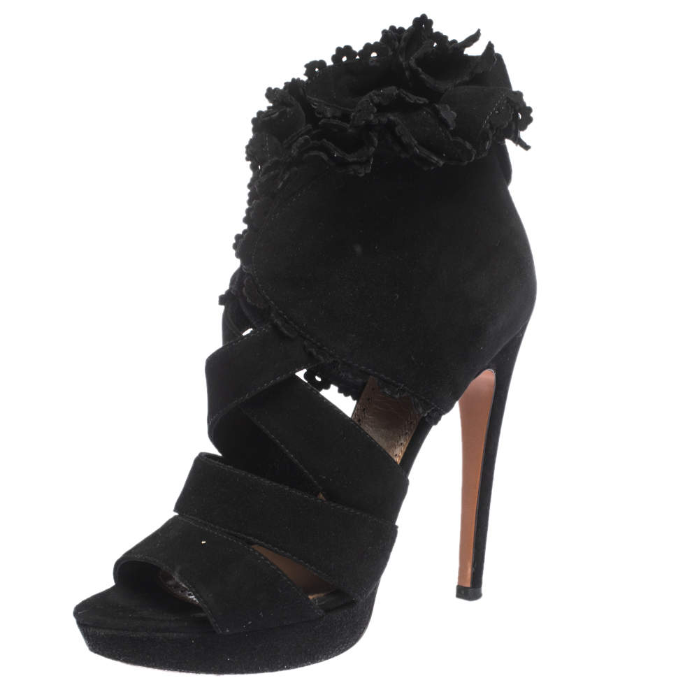 Alaia Black Suede Ruffle Accented Strappy Platform Sandals Size 38